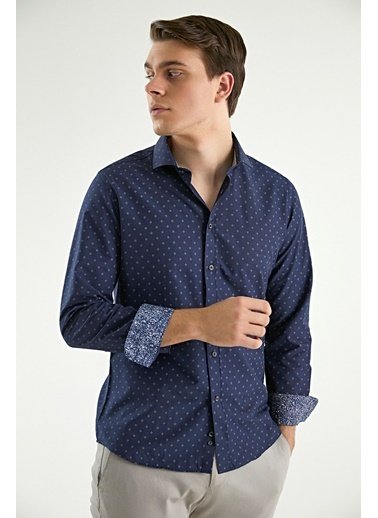 TWN Slim Fit Baskılı Gömlek Lacivert